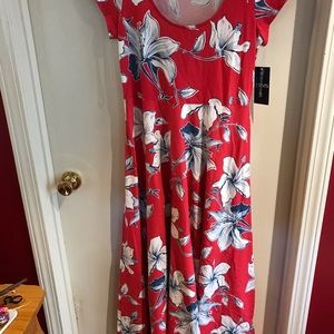 Red Chaps dress with flowers